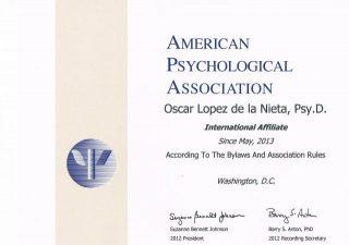 Certificado de American Psychological Association