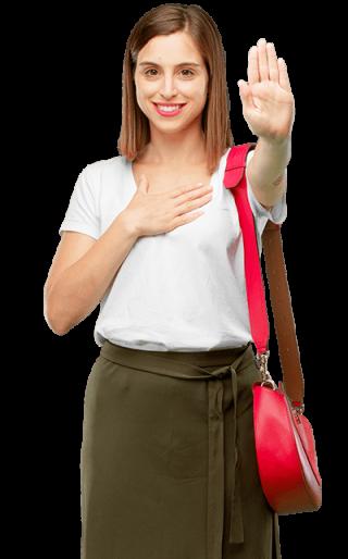 Chica joven con mano en señal de stop