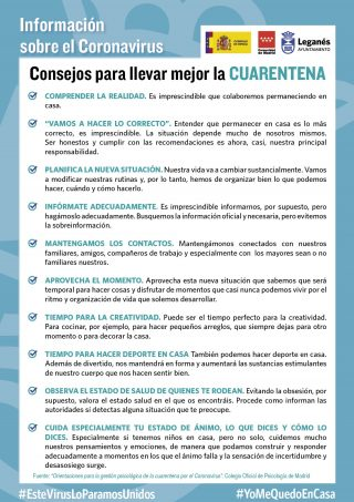 Infomación Consejos Cuarentena Ministerio de España